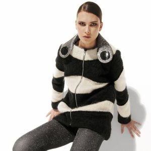 Sweaters - Mohair, Black and White Striped Slouchy Sweater